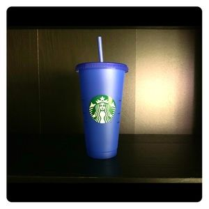 Blue Starbucks changing cup